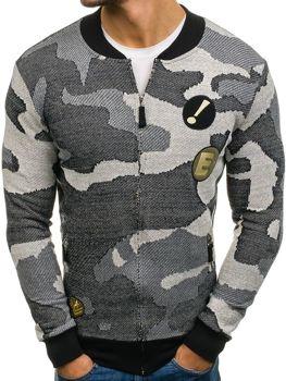 Мужская толстовка без капюшона бомберка камуфляж-серая Bolf 0894