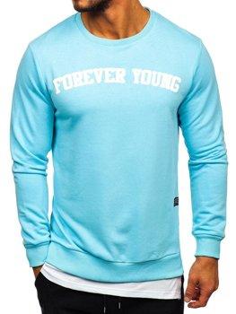 Мужская толстовка без капюшона с принтом FOREVER YOUNG голубая Bolf 11116
