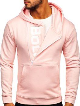 Мужская толстовка с капюшоном и принтом розовая Bolf 01