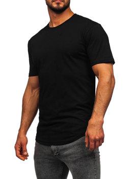 Мужская удлиненная футболка без принта черная Bolf 14290