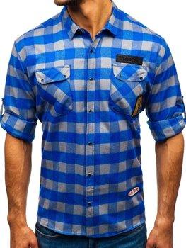 Мужская фланелевая рубашка с длинным рукавом сине-серая Bolf 2503