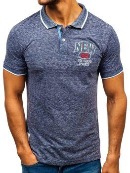 Мужская футболка поло темно-синяя Bolf 19240