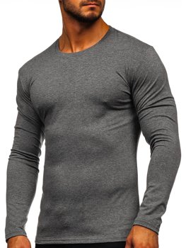 Мужская футболка с длинным рукавом без принта графитовая Bolf 2088L
