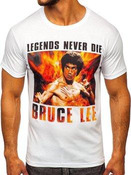 Мужская футболка с принтом белая Bolf 001