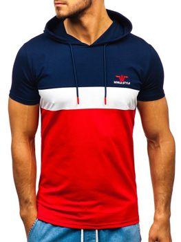 Мужская футболка с принтом и капюшоном темно-синяя Bolf 5799