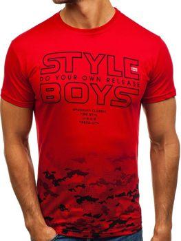 Мужская футболка с принтом красная Bolf 0010
