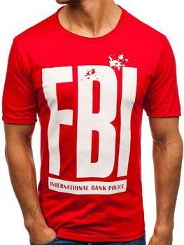 Мужская футболка с принтом красная Bolf 6295