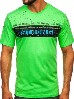 Мужская футболка с принтом салатовая Bolf 14204