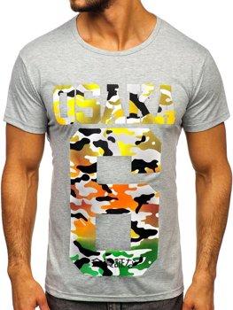Мужская футболка с принтом серая Bolf KS1958