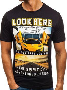 Мужская футболка с принтом черная Bolf 6296