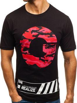 Мужская футболка с принтом черная Bolf 6299