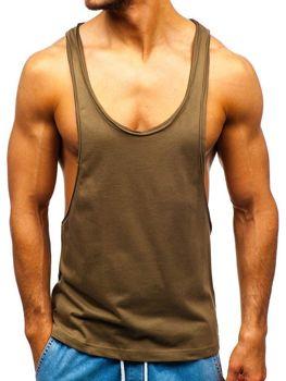Мужская футболка tank top без принта хаки Bolf 1245