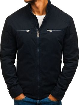Мужская элегантная демисезонная куртка темно-синяя Bolf 1816