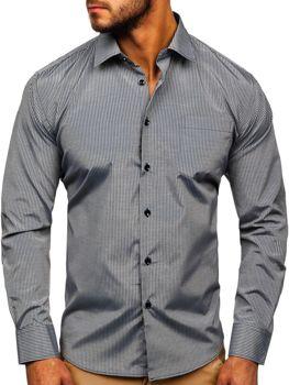 Мужская элегантная рубашка в полоску с длинным рукавом серая Bolf NDT10