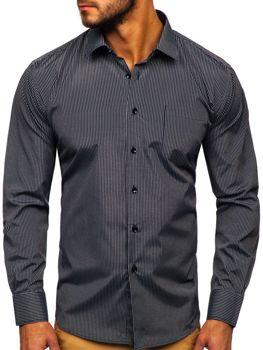 Мужская элегантная рубашка в полоску с длинным рукавом черная Bolf NDT10