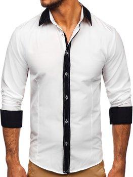 Мужская элегантная рубашка с длинным рукавом белая Bolf 6882