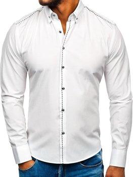 Мужская элегантная рубашка с длинным рукавом белая Bolf 6920