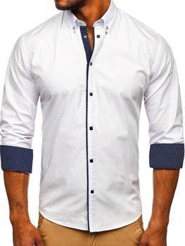 Мужская элегантная рубашка с длинным рукавом белая Bolf 7724