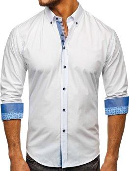 Мужская элегантная рубашка с длинным рукавом белая Bolf 8838-1