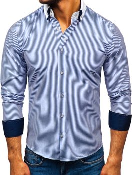 Мужская элегантная рубашка с длинным рукавом синяя Bolf 0909-A