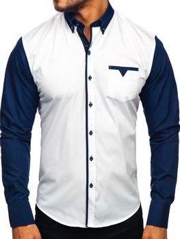 Мужская элегантная рубашка с длинным рукавом темно-синяя Bolf 5726-1
