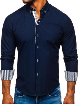 Мужская элегантная рубашка с длинным рукавом темно-синяя Bolf 5796-1