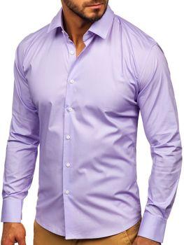 Мужская элегантная рубашка с длинным рукавом фиолетовая Bolf TS50