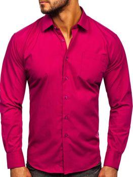 Мужская элегантная рубашка с длинным рукавом фуксия Bolf 0003