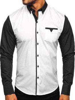 Мужская элегантная рубашка с длинным рукавом черная Bolf 5726-1