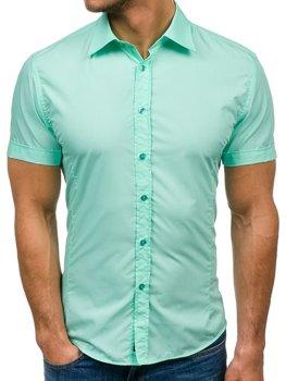 Мужская элегантная рубашка с коротким рукавом ментоловая Bolf 7501