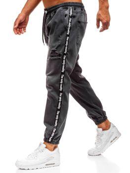 Мужские джинсовые брюки багги антрацитовые  Bolf 2045
