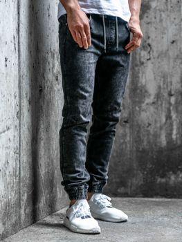 Мужские джинсовые брюки джоггеры черные Bolf  KA1283
