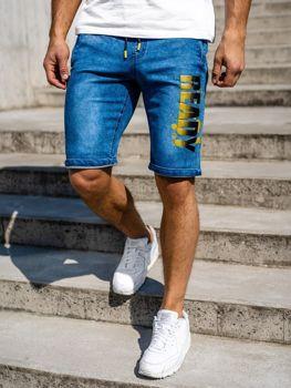 Мужские джинсовые шорты темно-сине-желтые Bolf HY323