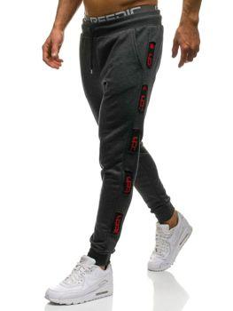 Мужские трикотажные брюки джоггеры графитово-красные Bolf 0921
