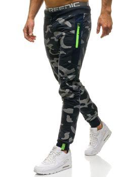 Мужские трикотажные брюки джоггеры камуфляж-темно-синие Bolf ML225