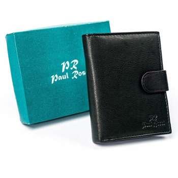 Мужской кожаный кошелек черный 4628