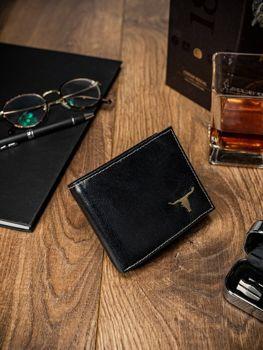 Мужской кожаный кошелек черный 51
