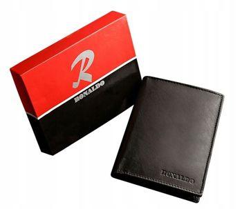 Мужской кожаный кошелек черный 602