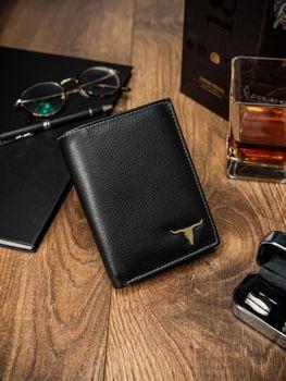 Мужской кошелек кожаный черный 13