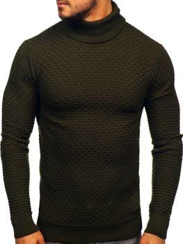 Мужской свитер гольф зеленый Bolf 322