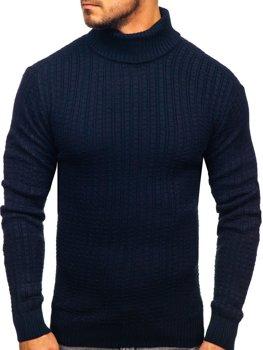 Мужской свитер гольф темно-синий Bolf 315