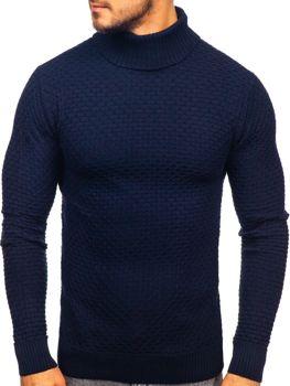 Мужской свитер гольф темно-синий Bolf 322