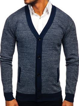 Мужской свитер на застежке темно-синий Bolf 8122