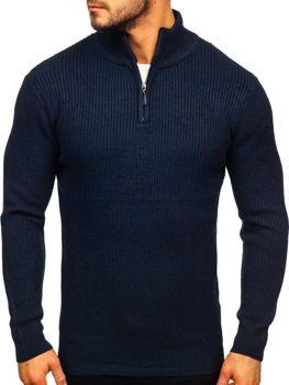 Мужской свитер с воротником стойка темно-синий Bolf H1936