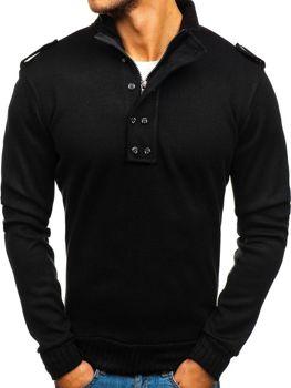 Мужской свитер с высокой горловиной черный Bolf 1132