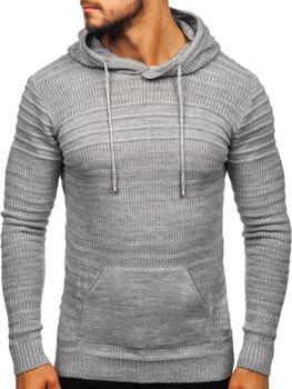 Мужской свитер с капюшоном серый Bolf 7003