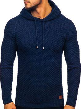 Мужской свитер с капюшоном темно-синий Bolf 7004