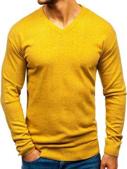Мужской свитер с v-образным вырезом кэмел Bolf 6002