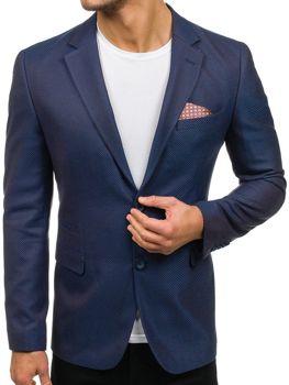Мужской элегантный пиджак сине-коричневый Bolf 2222