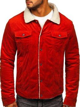 Оранжевая стеганая вельветовая куртка мужская Bolf 1179